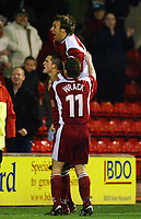 Photograph: Scott Heavey.<br />Walsall v Bradord City. Nationwide Division One. 06/12/2003.<br />Gary Birch celebrates his and the only goal of the game with Paul Merson and Darren Wrack