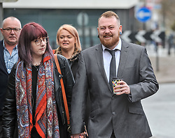 Mark Meechan (30) from Coatbridge, Lanarkshire, returns to Airdrie Sheriff Court with girlfriend Suzanne Kelly for sentencing after being convicted of filming his girlfriends pug raising it's paw in a nazi salute in response to phrases such as Sieg Heil. The clip, which was posted on Youtube, was viewed more than 3 million times. He was fined £800 GBP<br /> <br /> (c) Dave Johnston / Eem