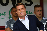 Fulham manager Scott Parker during the EFL Sky Bet Championship match between Barnsley and Fulham at Oakwell, Barnsley, England on 3 August 2019.