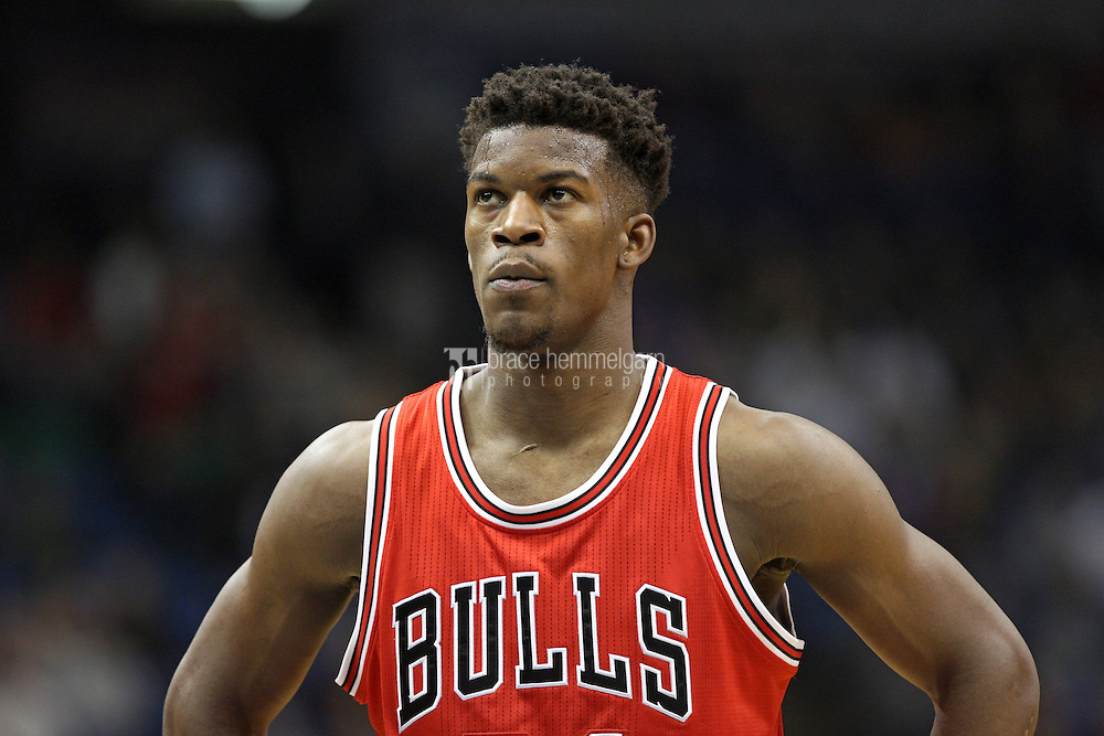 Nov 1, 2014; Minneapolis, MN, USA; Chicago Bulls guard Jimmy Butler (21) looks on during the first quarter against the Minnesota Timberwolves at Target Center. The Bulls defeated the Timberwolves 106-105. Mandatory Credit: Brace Hemmelgarn-USA TODAY Sports