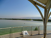 Israel, Hula Valley, Agmon lake, visitor's hide and observation deck overlooking the re-established lake