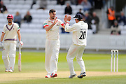 Lancashire's James Anderson takes his third wicket of the over as he dismisses Somerset's Peter Trego during the Specsavers County Champ Div 1 match between Somerset County Cricket Club and Lancashire County Cricket Club at the County Ground, Taunton, United Kingdom on 3 May 2016. Photo by Graham Hunt.
