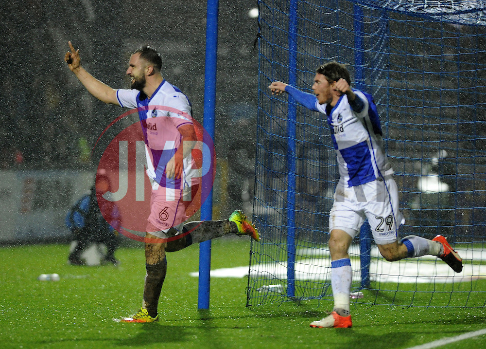 Peter Hartley of Bristol Rovers celebrates with Luke James of Bristol Rovers - Mandatory by-line: Neil Brookman/JMP - 10/12/2016 - FOOTBALL - Memorial Stadium - Bristol, England - Bristol Rovers v Bury - Sky Bet League One