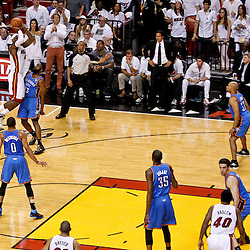 Jun 21, 2012; Miami, FL, USA; Miami Heat small forward LeBron James (6) shoots over Oklahoma City Thunder guard James Harden (13) during the first quarter in game five in the 2012 NBA Finals at the American Airlines Arena. Mandatory Credit: Derick E. Hingle-US PRESSWIRE