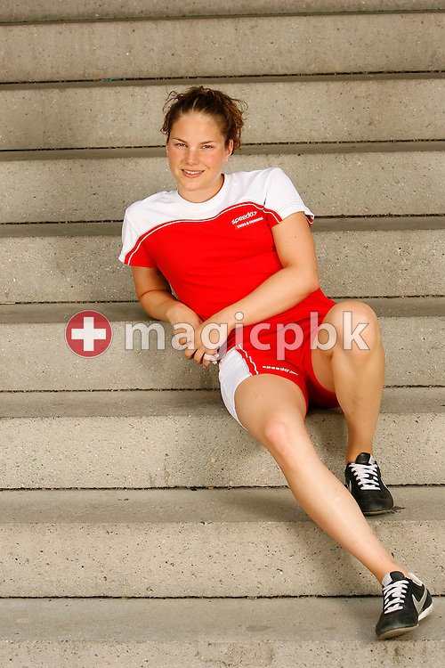 Swimmer Carla Stampfli of Switzerland poses during a portrait session of the Swiss team for the 2006 European Championships at St. Jakob Sportbad in Basel, Switzerland, Saturday July 22, 2006. (Photo by Patrick B. Kraemer / MAGICPBK)