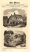 Joseph Addison  (1672-1719) English essayist, poet, playwright and politician. Friend of Richard Steele and Jonathan Swift. Top: The parsonage at Milston, near Amesbury, Wiltshire, England, Addison's birthplace. Bottom: Bilton House, near Rugby, Warwickshire, the house which Addison purchased in 1711. Wood engraving from 'The Mirror' (London, 23 July 1836).