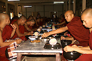 Myanmar Amarapura, Mahagandayon Monastery, Buddhist Monastery, Monks at meal time