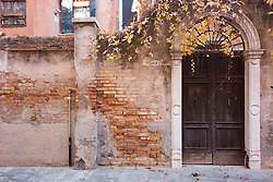 Door and Exterior Wall of Old Residence, Venice, Italy