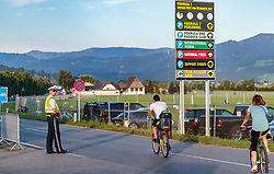 08.07.2017, Red Bull Ring, Spielberg, AUT, FIA, Formel 1, Grosser Preis von Österreich, Qualifying, im Bild Campingplatz, Polizist und Radfahrer // Campsite Policeman and Cyclists After the Qualifying of the Austrian FIA Formula One Grand Prix at the Red Bull Ring in Spielberg, Austria on 2017/07/08. EXPA Pictures © 2017, PhotoCredit: EXPA/ JFK