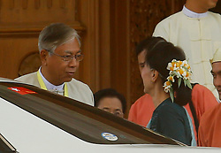 Newly elected president of Myanmar U Htin Kyaw (L) talks with leader of Myanmar's National League for Democracy Aung San Suu Kyi in Nay Pyi Taw, Myanmar, March 15, 2016. U Htin Kyaw from Myanmar's ruling National League for Democracy (NLD), led by Aung San Suu Kyi, won the presidential election Tuesday through a secret ballot, thus becoming the country's new president for the next five-year term, (lyi). EXPA Pictures © 2016, PhotoCredit: EXPA/ Photoshot/ U Aung<br /> <br /> *****ATTENTION - for AUT, SLO, CRO, SRB, BIH, MAZ, SUI only*****