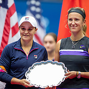 2019 US Open Tennis Tournament- Day Fourteen. Victoria  Azarenka of Belarus and Ashleigh Barty of Australia with the runners up trophy after losing to Elise Mertens of Belgium and Aryna Sabalenka of Belarus in the Women's Doubles Final on Arthur Ashe Stadium during the 2019 US Open Tennis Tournament at the USTA Billie Jean King National Tennis Center on September 8th, 2019 in Flushing, Queens, New York City.  (Photo by Tim Clayton/Corbis via Getty Images)