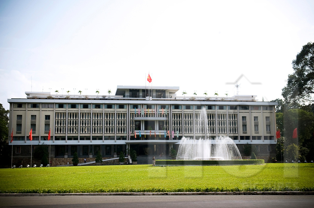 Facade architecture of the Reunification Palace in Ho Chi Minh city, Vietnam, Southeast Asia