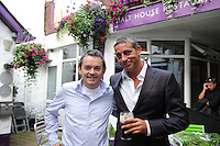 Baz, with Paul Grealish from the Malt house restaurant in Galway during the Galway Races festival . Photo:Andrew Downes
