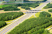 Nederland, Gelderland, Gemeente Lingewaard, 26-06-2013; knooppunt Ressen, gemeente Lingewaard.  A15 (Rozenburg-Ressen) en de A325 (Arnhem-Nijmegen). Betuweroute boven in beeld.<br /> Motorway junction in the East of the Netherlands connection Port of  Rotterdam with German hinterland.<br /> luchtfoto (toeslag op standaard tarieven);<br /> aerial photo (additional fee required);<br /> copyright foto/photo Siebe Swart.