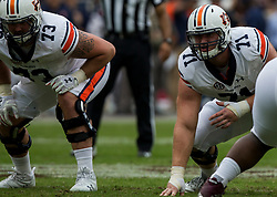 Auburn offensive lineman Braden Smith (71) gets set against Texas A&M during the first quarter of an NCAA college football game on Saturday, Nov. 4, 2017, in College Station, Texas. (AP Photo/Sam Craft)