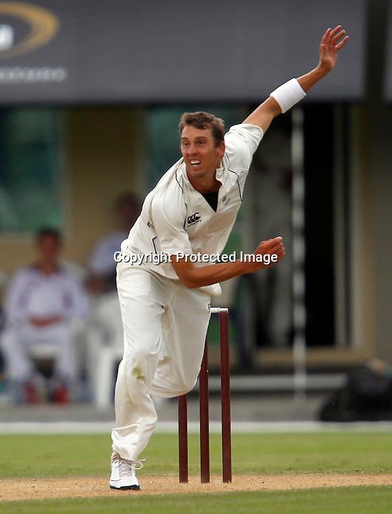 Brent Arnel bowling. International Cricket, New Zealand XI v Pakistan, Day 2, Cobham Oval Whangarei, Monday 3rd January 2011. Photo: Shane Wenzlick / www.photosport.co.nz