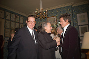 LORD MAURICE SAATCHI, HARVEY KEITEL AND HUGH GRANT, Pre Bafta dinner hosted by Charles Finch and Chanel. Mark's Club. Charles St. London. 9 February 2008.  *** Local Caption *** -DO NOT ARCHIVE-© Copyright Photograph by Dafydd Jones. 248 Clapham Rd. London SW9 0PZ. Tel 0207 820 0771. www.dafjones.com.
