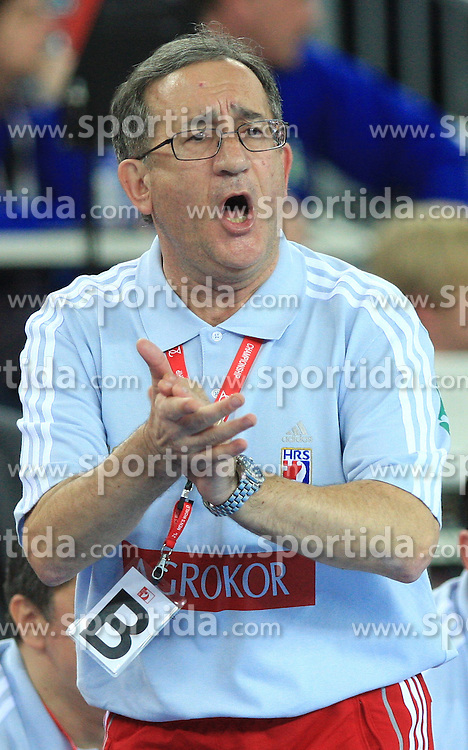 Head coach of Croatia Lino Cervar during 21st Men's World Handball Championship 2009 Main round Group I match between National teams of Croatia and Hungary, on January 24, 2009, in Arena Zagreb, Zagreb, Croatia.  (Photo by Vid Ponikvar / Sportida)