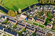 Nederland, Friesland, Gemeente Heerenveen, 04-11-2018; Akkrum, nieuwbouw eengezinswoningen met zonnepanelen op het dak.<br /> Akkrum village, newly contructed single-family homes with solar panels on the roof.<br /> luchtfoto (toeslag op standaard tarieven);<br /> aerial photo (additional fee required);<br /> copyright © foto/photo Siebe Swart