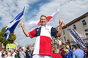 Street stilt walker during the Rugby World Cup Pool B match between Scotland and Japan at the Kingsholm Stadium, Gloucester, United Kingdom on 23 September 2015. Photo by Shane Healey.