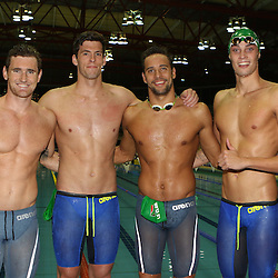 DURBAN, SOUTH AFRICA - APRIL 15: (L) to (R) Cameron Van Der Burgh breaststroke leg Christopher Reid backstroke leg Chad Le Clos butterfly leg and Calvyn Justus freestyle leg of the Men 4 x 100m LC Medley Relay Time Trial during day 6 of the SA National Aquatic Championships 2016 at Kings Park Aquatic Centre on April 15, 2016 in Durban, South Africa. (Photo by Steve Haag/Gallo Images)