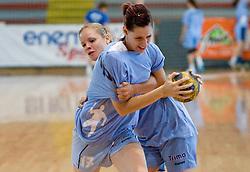 Alja Koren (17) and Neza Mitrusevska at practice of Slovenian Handball Women National Team, on June 3, 2009, in Arena Kodeljevo, Ljubljana, Slovenia. (Photo by Vid Ponikvar / Sportida)