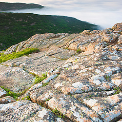 The summit of Cadillac Mountain, above the fog in Maine's Acadia National Park.