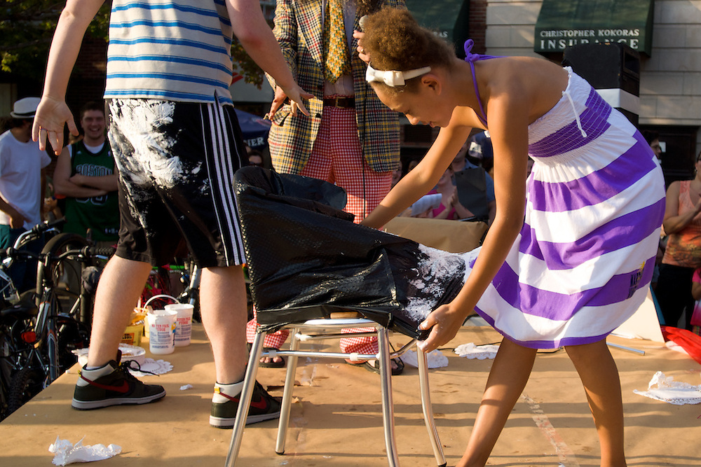September 25, 2010 - Miranda Lawson, 10, removes herself  from a marshmallow fluff covered trash bag after competing in a game of musical chairs at the 5th annual Fluff Fest in Somerville. Photo by Lathan Goumas.