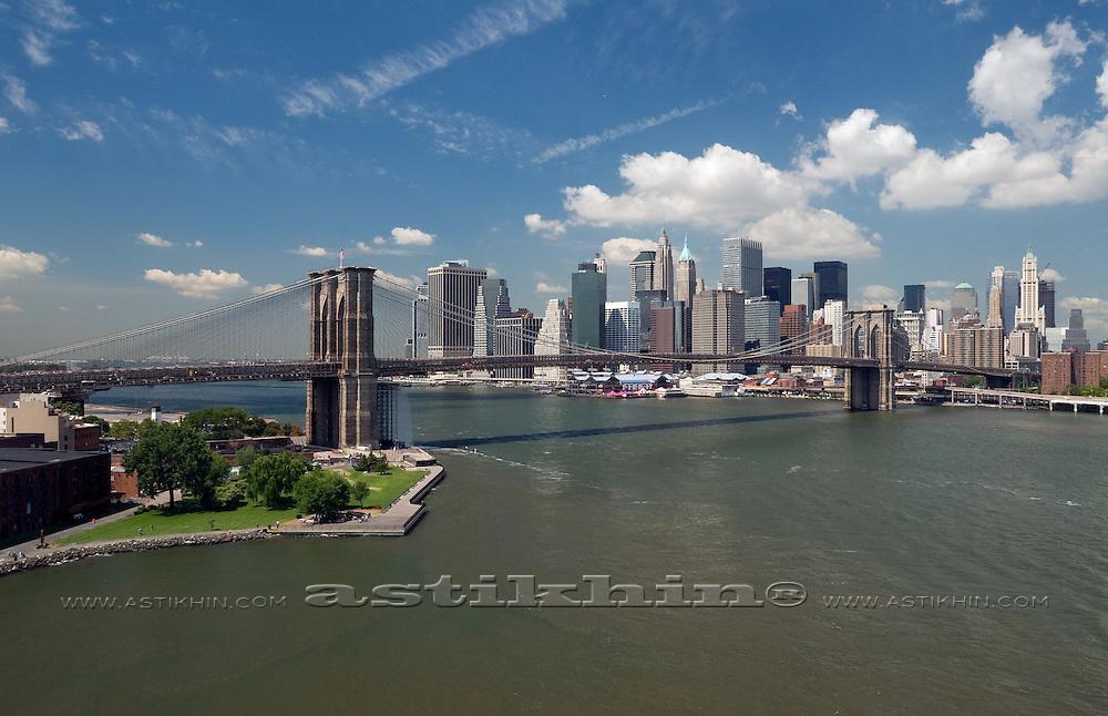 Brooklyn Bridge on East River.