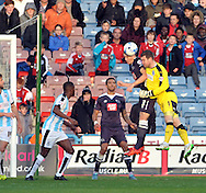 Jed Steer goalkeeper of Huddersfield Town goes up for a last min corner against Derby County during the Sky Bet Championship match at the John Smiths Stadium, Huddersfield<br /> Picture by Graham Crowther/Focus Images Ltd +44 7763 140036<br /> 24/10/2015