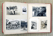 open page of an old family photo album Japan Asia 1950s and earlier