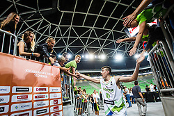 Vlatko Cancar of Slovenia with fans during qualifying match between Slovenia and Bulgaria for European basketball championship 2017, Arena Stozice, Ljubljana on 14th of September 2016, Slovenia. Photo by Grega Valancic / Sportida