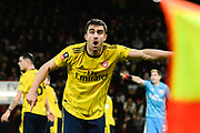Sokratis Papastathopoulos (5) of Arsenal is unhappy with the assistant referees call during the The FA Cup match between Bournemouth and Arsenal at the Vitality Stadium, Bournemouth, England on 27 January 2020.