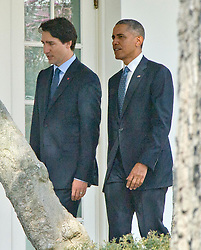 United States President Barack Obama, right, and Prime Minister Justin Trudeau of Canada, left, walk on the Colonnade to the Oval Office following an Arrival Ceremony on the South Lawn of the White House in Washington, DC on Thursday, March 10, 2016. EXPA Pictures © 2016, PhotoCredit: EXPA/ Photoshot/ Ron Sachs<br /> <br /> *****ATTENTION - for AUT, SLO, CRO, SRB, BIH, MAZ, SUI only*****