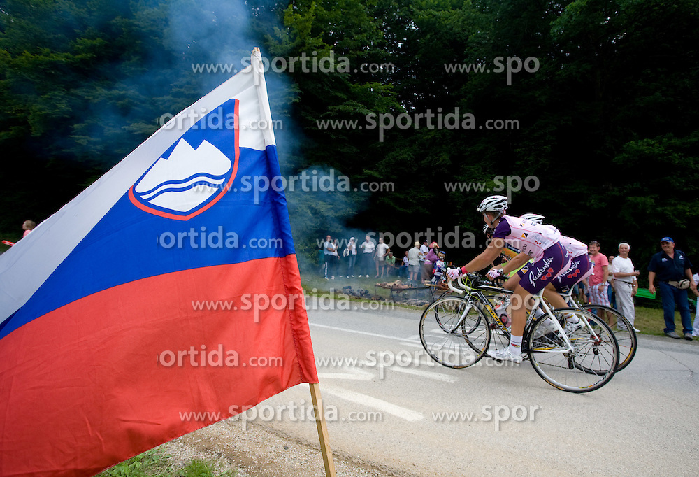 Slovenian flag at Slovenian National Championships in Road cycling, 178 km, on June 28 2009, in Mirna Pec, Slovenia. (Photo by Vid Ponikvar / Sportida)