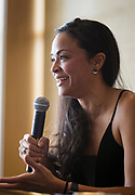 "Actress Karen Olivo speaks during the Cap Times Idea Fest 2018 ""Broadway, 'Hamilton' and Forward"" at the Pyle Center in Madison, Wisconsin, Saturday, Sept. 29, 2018."