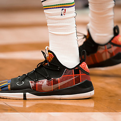 Feb 12, 2019; New Orleans, LA, USA; Shoes worn by New Orleans Pelicans forward Anthony Davis during the first quarter against the Orlando Magic at the Smoothie King Center. Mandatory Credit: Derick E. Hingle-USA TODAY Sports