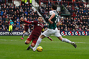 Hibernian FC Midfielder Liam Henderson  on the attack during the Scottish Cup 5th round match between Heart of Midlothian and Hibernian at Tynecastle Stadium, Gorgie, Scotland on 7 February 2016. Photo by Craig McAllister.