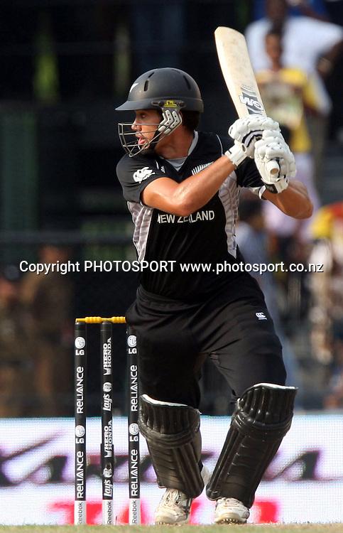 New Zealand batsman Ross Taylor plays a shot against Sri Lanka during ICC Cricket World Cup - 1st Semi-Final New Zealand vs Sri Lanka Played at R Premadasa Stadium, Colombo, 29 March 2011 - day/night (50-over match)