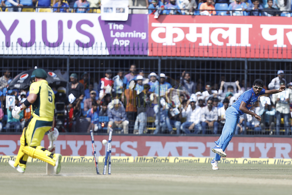 Jasprit Bumrah of India throws the ball  during the 3rd One Day International between India and Australia held at the Holkar Stadium in Indore on the 24th  September 2017<br /> <br /> Photo by Arjun Singh / BCCI / SPORTZPICS