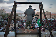 A soldier stands guard over Martyr's Square in Tripoli during celebrations commemorating the one year anniversary of the revolution on 02/17/2012.