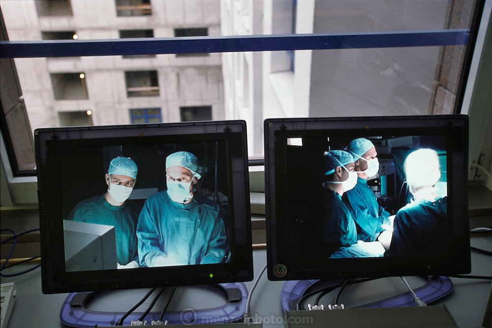 Monitor view of heart surgeons watching their progress while performing minimally invasive heart surgery during a cardiac conference at Herzzentrum: Heart Center in Leipzig, Germany.