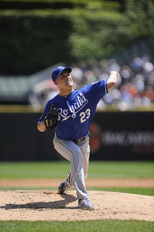 CHICAGO - MAY 13:  Danny Duffy #23 of the Kansas City Royals pitches against the Chicago White Sox at U.S. Cellular Field in Chicago, Illinois.  The Royals defeated the White Sox 9-1.  (Photo by Ron Vesely)   Subject:   Danny Duffy
