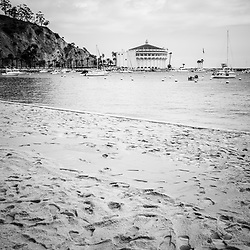 Catalina Island beach and Casino black and white picture. Catalina Casino is a historic theatre built in the early 1900s. Catalina Island is a popular travel destination off the coast of Southern California in the United States.