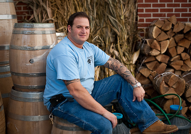 Angelo Graci with French wooden oak barrels