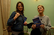 Claire Scott and Kinvara Balfour , Party to celebrate the publication of ' The Swallow and the Hummingbird by Santa Sebag-Montefiore. The English Speaking Union. 15 March 2004. ONE TIME USE ONLY - DO NOT ARCHIVE  © Copyright Photograph by Dafydd Jones 66 Stockwell Park Rd. London SW9 0DA Tel 020 7733 0108 www.dafjones.com
