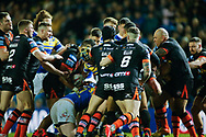 Tempers flare between both set of players during Leeds Rhinos vs Castleford Tigers during the Betfred Super League match at Elland Road, Leeds<br /> Picture by Stephen Gaunt/Focus Images Ltd +447904 833202<br /> 23/03/2018