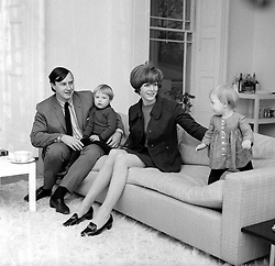 TERENCE CONRAN and his third wife CAROLINE photographed with their children TOM & SOPHIE at their home 9 St.Andrew's Place, Regent's Park, London in December 1966.