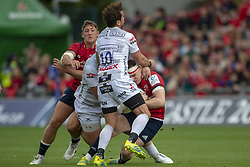 October 20, 2018 - Limerick, Ireland - Rory Scannell of Munster fouled by Danny Cipriani of Gloucester during the Heineken Champions Cup match between Munster Rugby and Gloucester Rugby at Thomond Park in Limerick, Ireland on October 20, 2018  (Credit Image: © Andrew Surma/NurPhoto via ZUMA Press)
