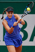 Paris, France - 2017 June 02: Ana Kanjuh from Croatia plays a backhand while her women's double match second round during tennis Grand Slam tournament The French Open 2017 (also called Roland Garros) at Stade Roland Garros on June 02, 2017 in Paris, France.<br /> <br /> Mandatory credit:<br /> Photo by &copy; Adam Nurkiewicz<br /> <br /> Adam Nurkiewicz declares that he has no rights to the image of people at the photographs of his authorship.<br /> <br /> Picture also available in RAW (NEF) or TIFF format on special request.<br /> <br /> Any editorial, commercial or promotional use requires written permission from the author of image.
